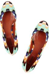 Missoni Zigzag Crochetknit and Leather Ballet Flats - Lyst