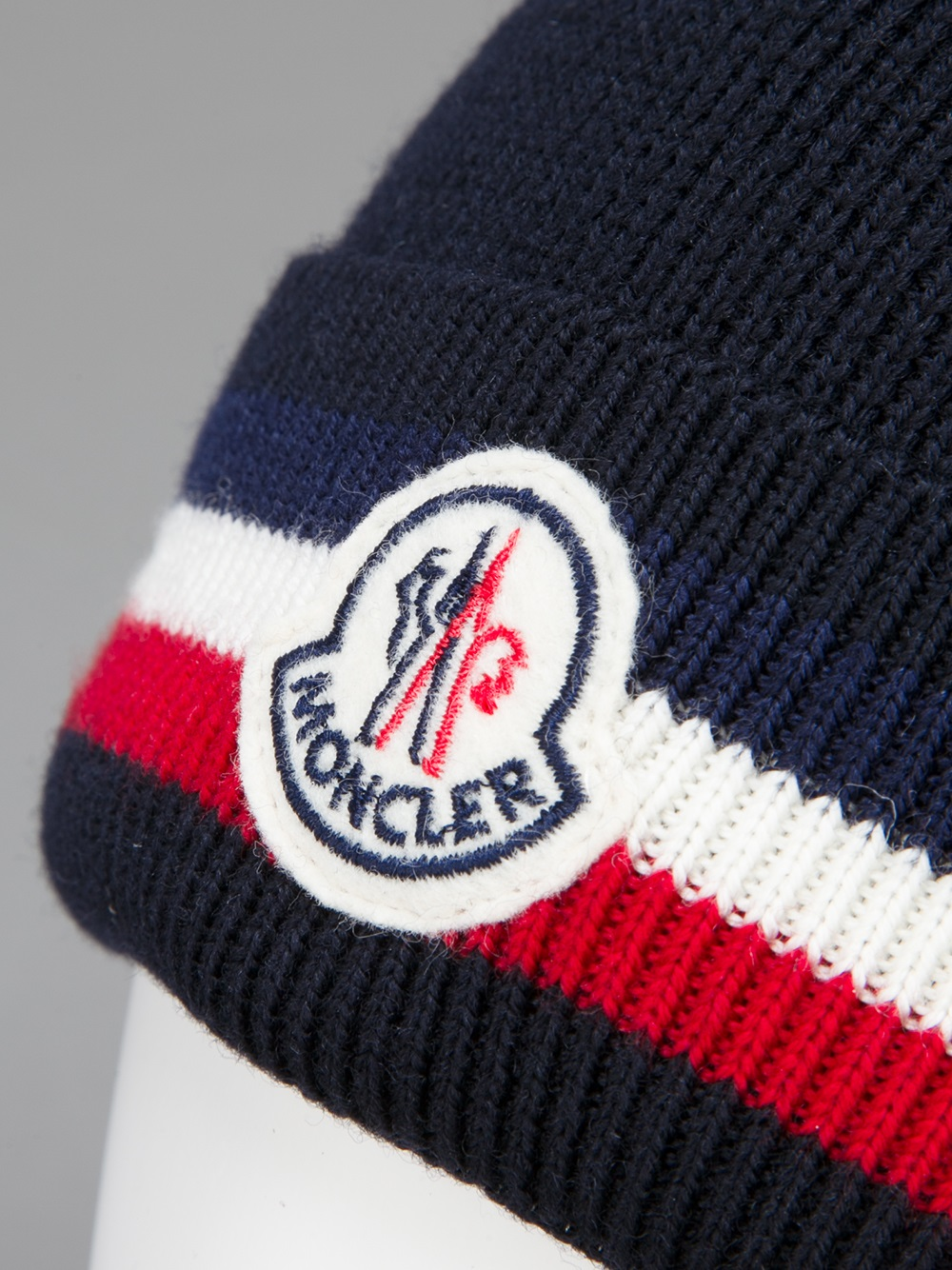 b44a880e22a Lyst - Moncler Logo Beanie Hat in Blue for Men