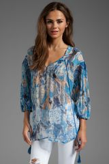 Plenty By Tracy Reese Watercolor Snake Smocked Sleeve Peasant Blouse in Blue - Lyst