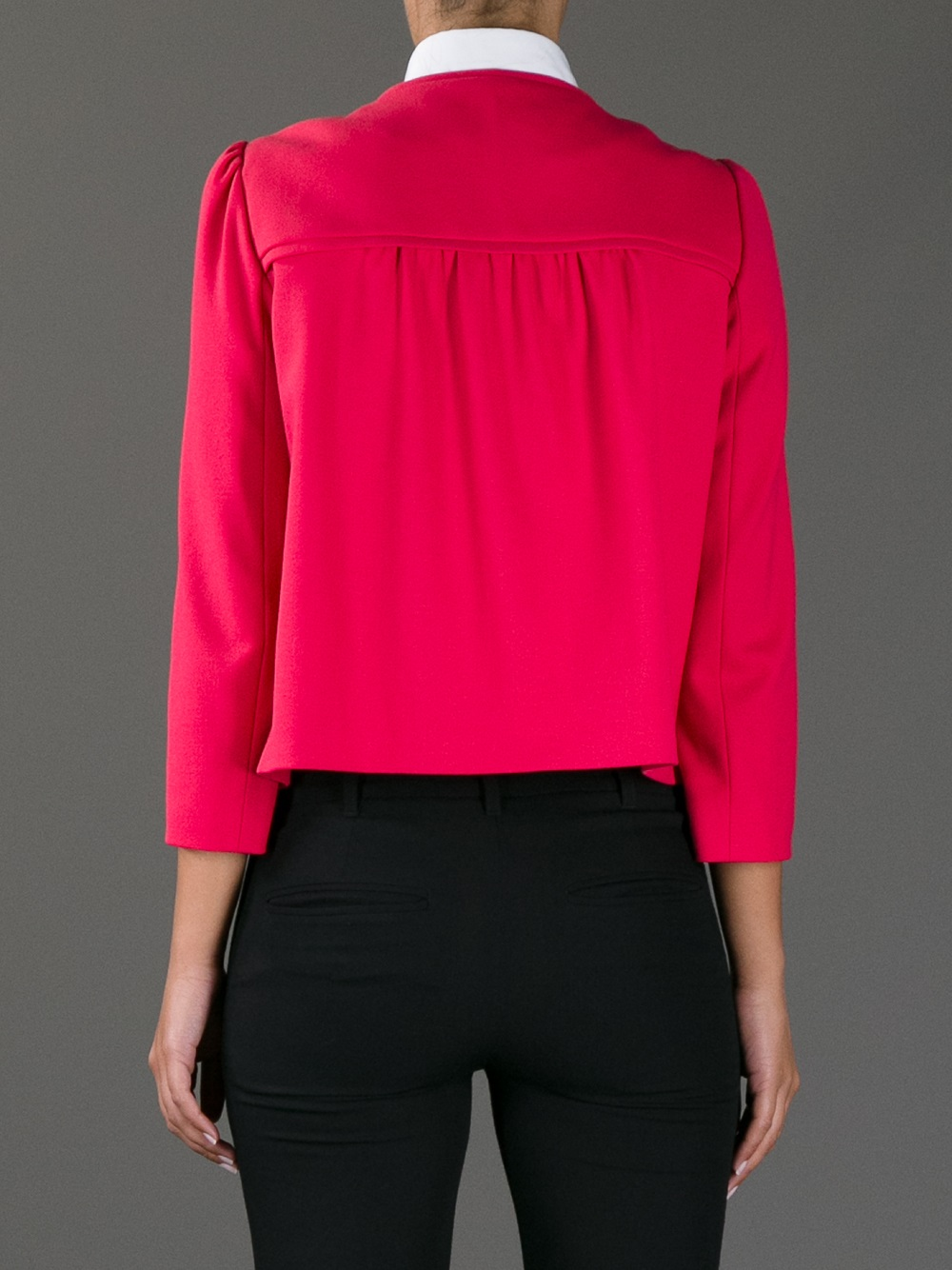 Lyst Red Valentino Cropped Jacket In Pink