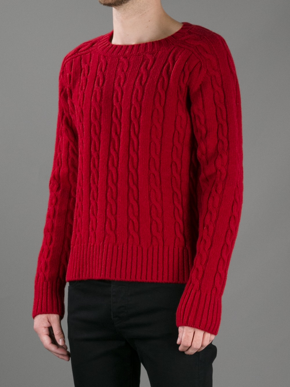 Saint laurent Cable Knit Sweater in Red for Men | Lyst