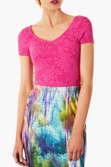 Topshop Textured Crop Top - Lyst