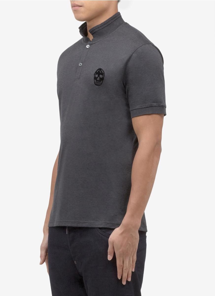 Lyst Alexander Mcqueen Skull Logo Cotton Polo Shirt In Gray For Men