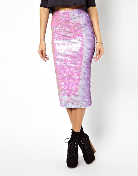 asos pencil skirt in pearlescent sequins in pink lyst