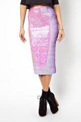 Asos Pencil Skirt in Pearlescent Sequins - Lyst