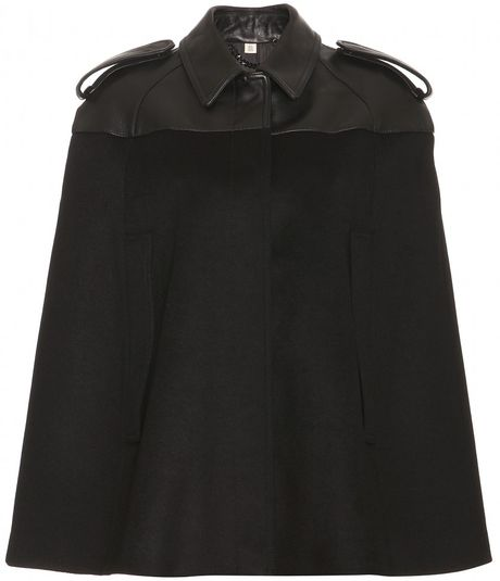 Burberry Wilmington Wool and Silk Cape in Black