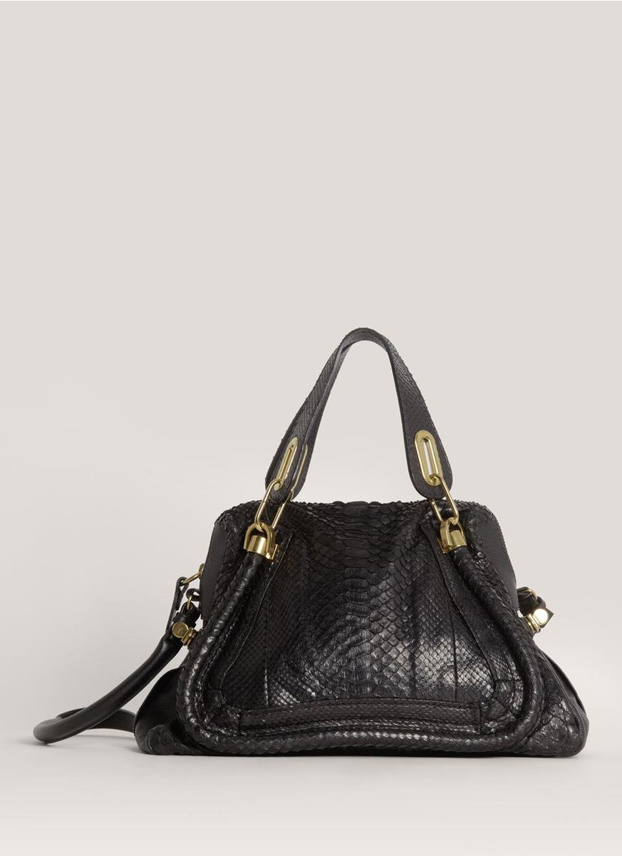 Chlo¨¦ \u0026#39;paraty\u0026#39; Medium Python Leather Bag in Black | Lyst