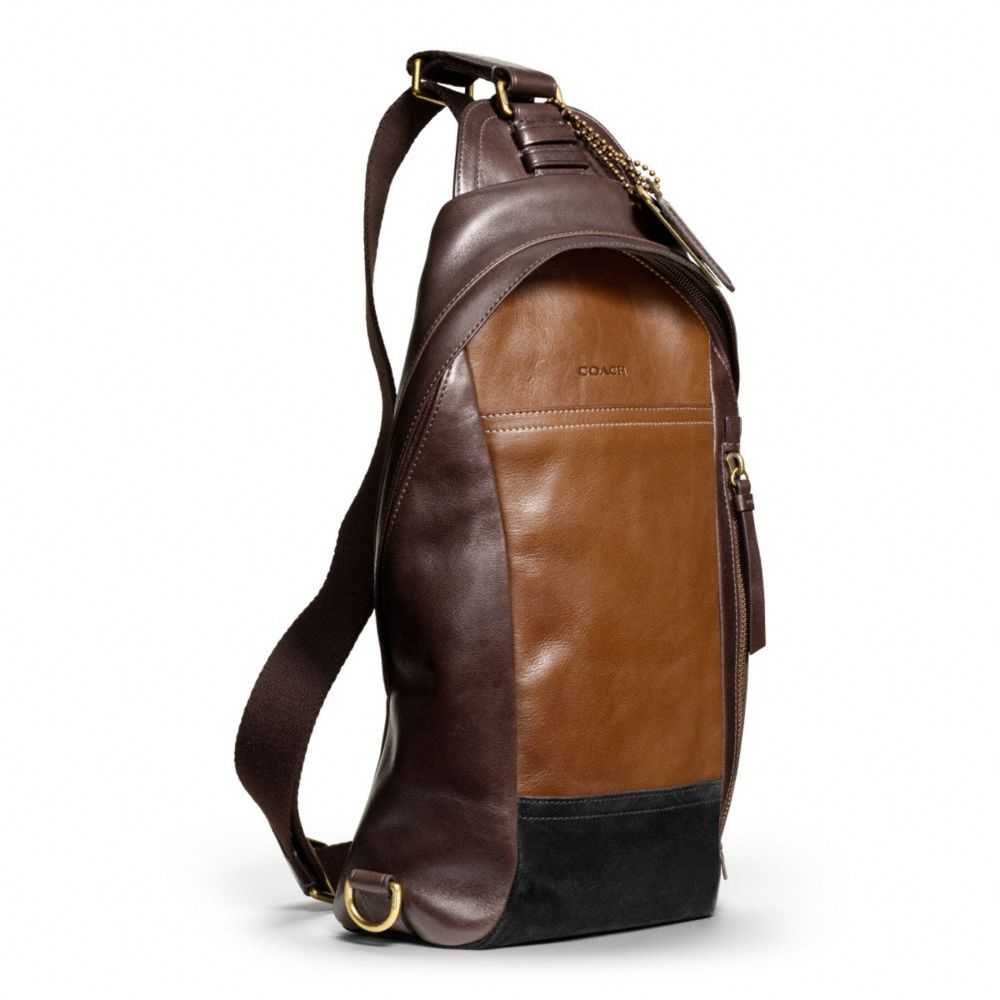3317b072b9 COACH Bleecker Convertible Sling Pack in Colorblock Leather in Brown ...