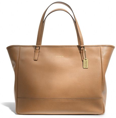 Coach Large City Tote in Saffiano Leather in Brown (BRASS/TOFFEE) - Lyst