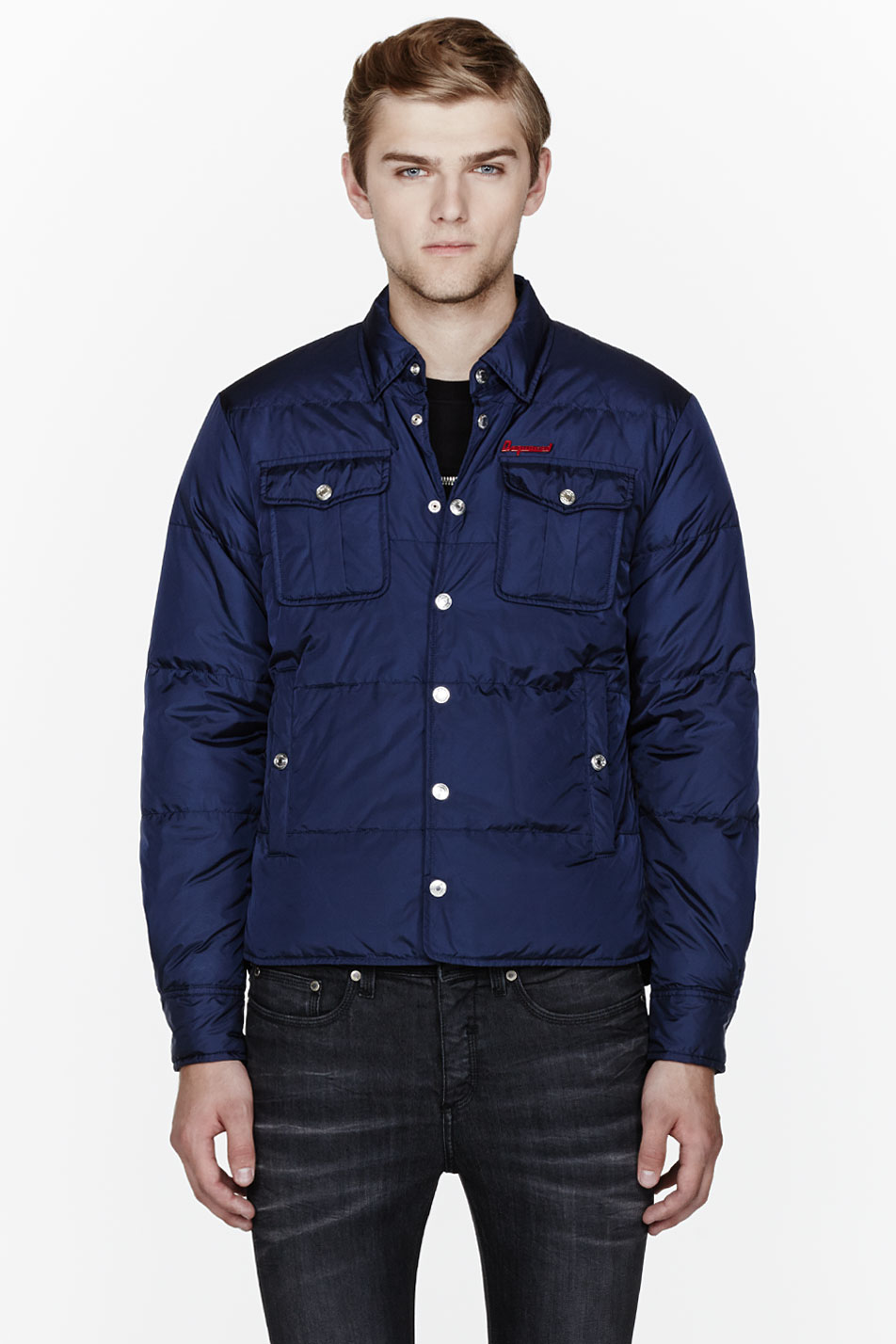 Dsquared2 Navy Nylon Quilted Button Down Shirt Jacket In