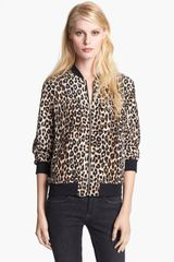 Equipment Abbot Leopard Print Silk Bomber Jacket - Lyst