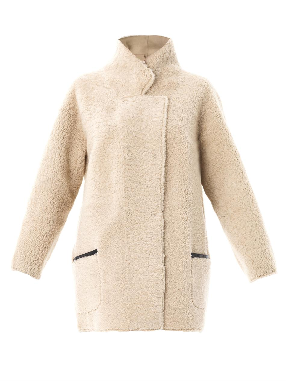 Inès & maréchal Reversible Curly Shearling Coat in Natural | Lyst