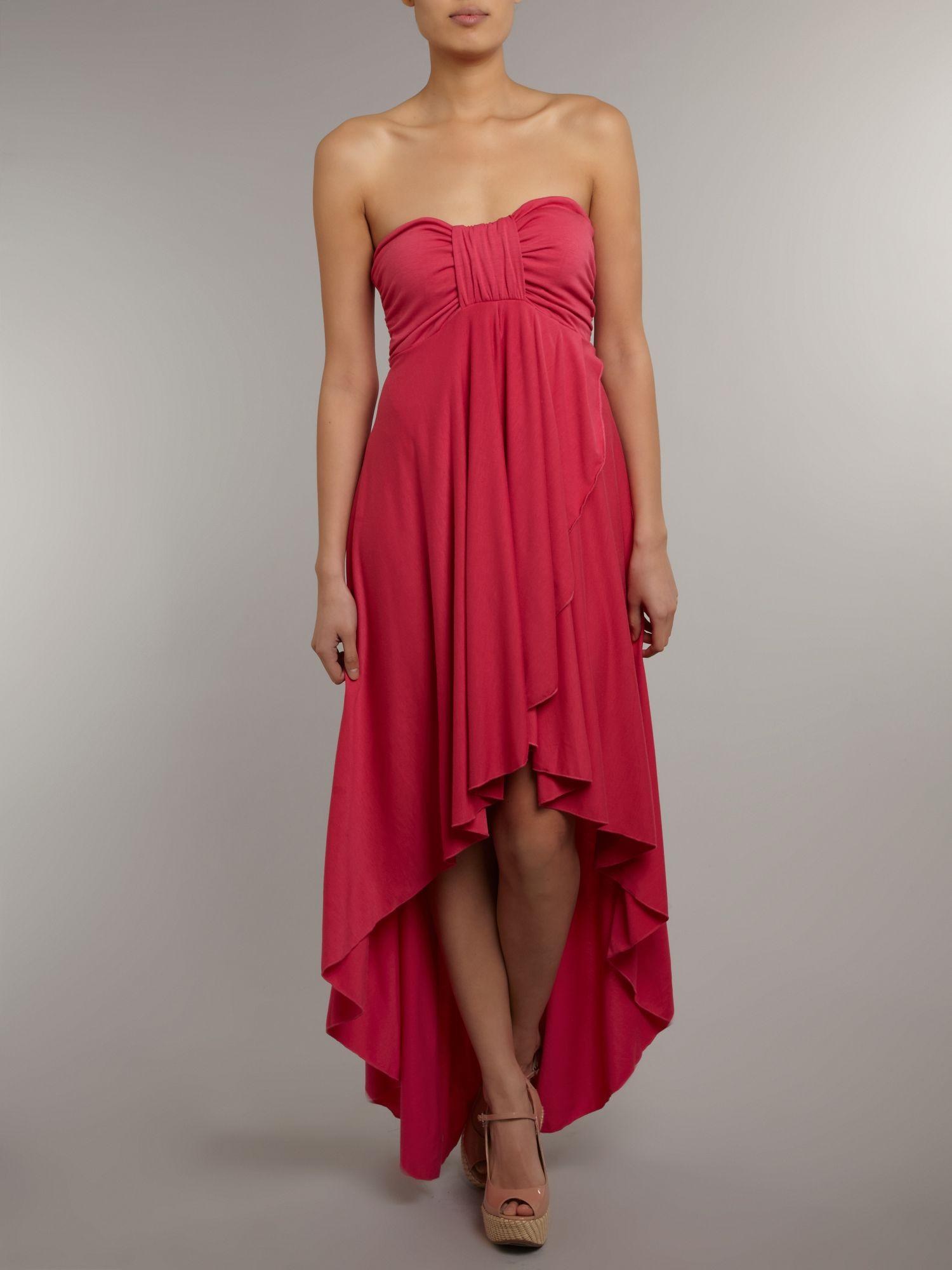 Izabel london waterfall hem maxi dress in pink lyst for Waterfall design dress