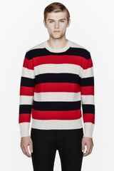 Maison Kitsuné Red Tricolor Striped Lambs Wool Sweater - Lyst
