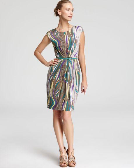 max mara studio sofocle jersey print dress in multicolor. Black Bedroom Furniture Sets. Home Design Ideas