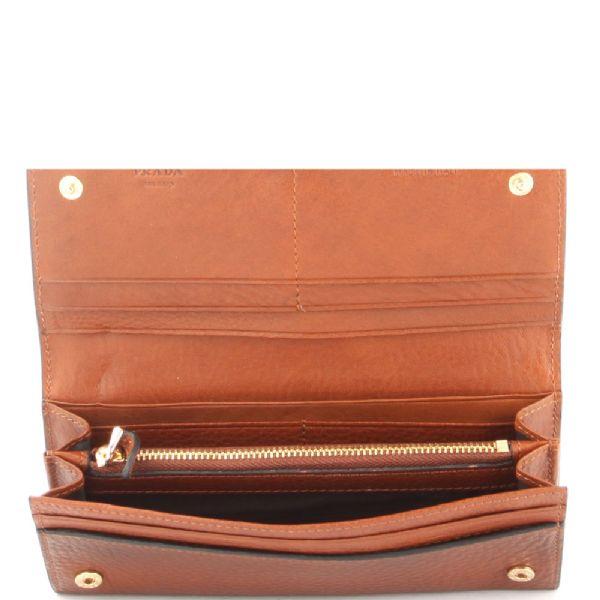 Prada Calfskin Leather Long Continental Wallet Bruciato Brown in ...