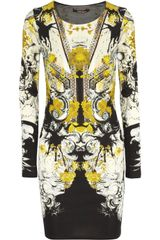 Roberto Cavalli Printed Crepe Dress - Lyst