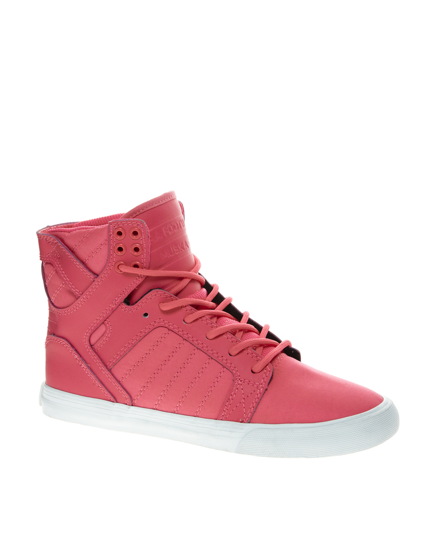 Lyst - Supra Skytop Pink High Top Trainers in Pink fe58a9970e9d