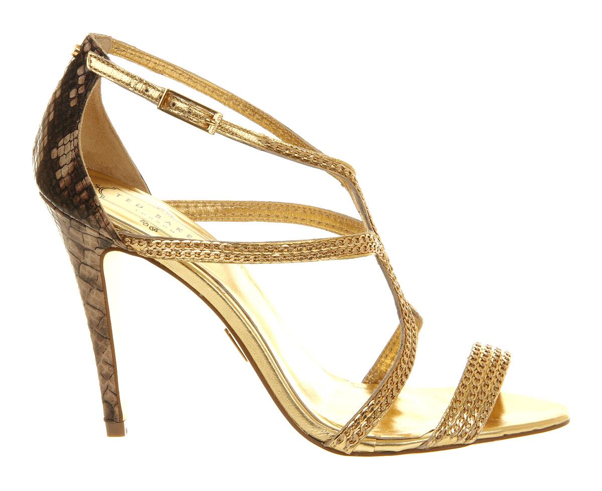 ted baker tilbey high heel sandal in gold snake lyst. Black Bedroom Furniture Sets. Home Design Ideas