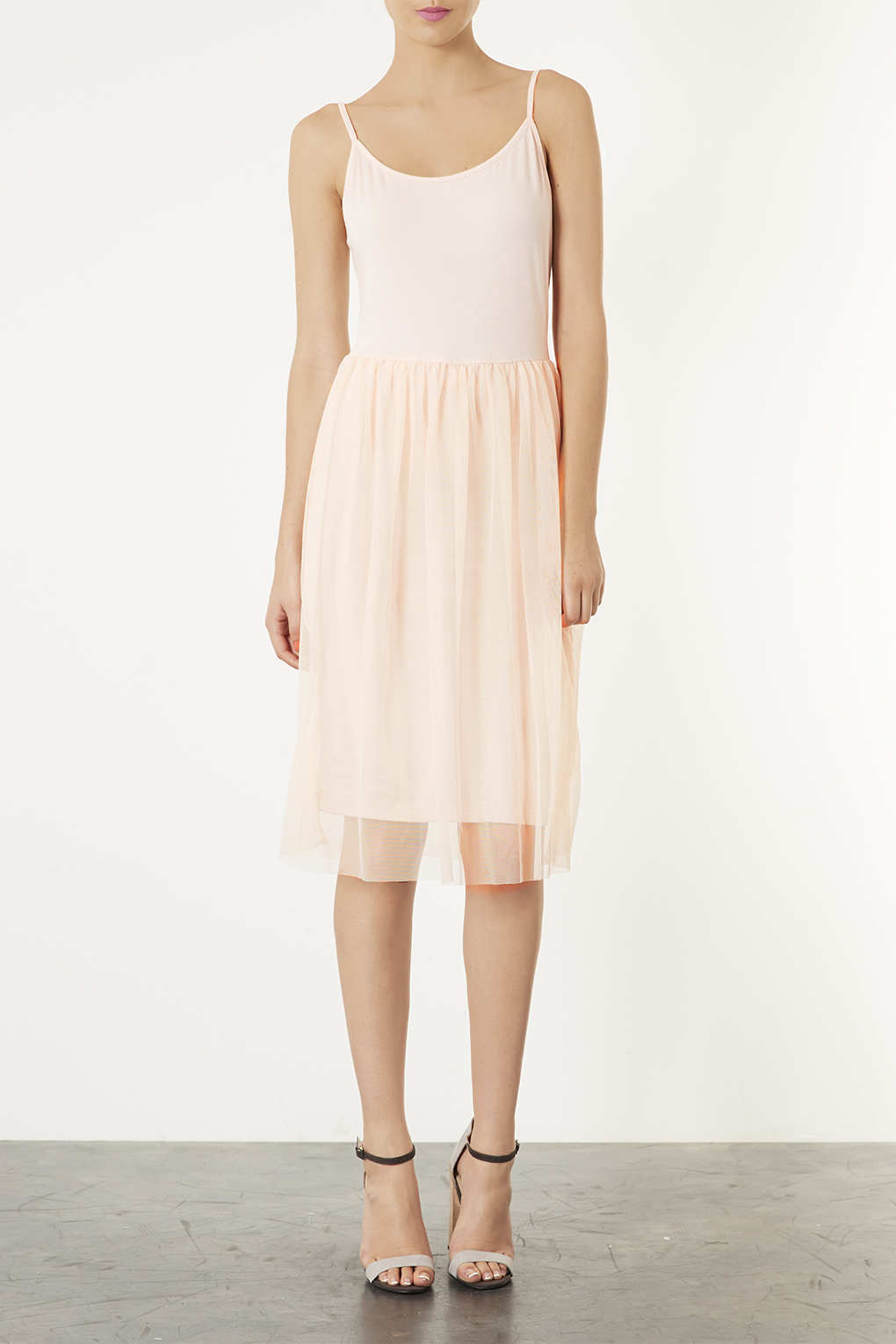 Lyst Topshop Tulle Strappy Midi Dress In Pink