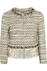 Tory Burch Vanessa Leather paneled Tweed Jacket - Lyst