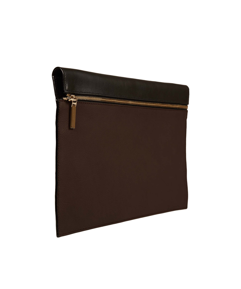 Victoria beckham Large Dark Brown Zip Pouch Clutch Bag in Brown | Lyst