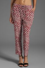 10 Crosby by Derek Lam Drawstring Tapered Pant in Red - Lyst