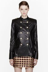 Balmain Black Buffed Leather Miliatry Blouse - Lyst