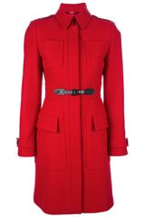 Burberry Fitted Coat - Lyst