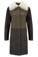 Cedric Charlier Grey Shearling Collar Coat - Lyst
