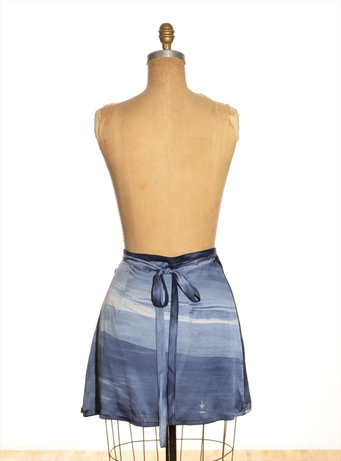 Draw in light Short Silk Wrap Skirt in Blue | Lyst
