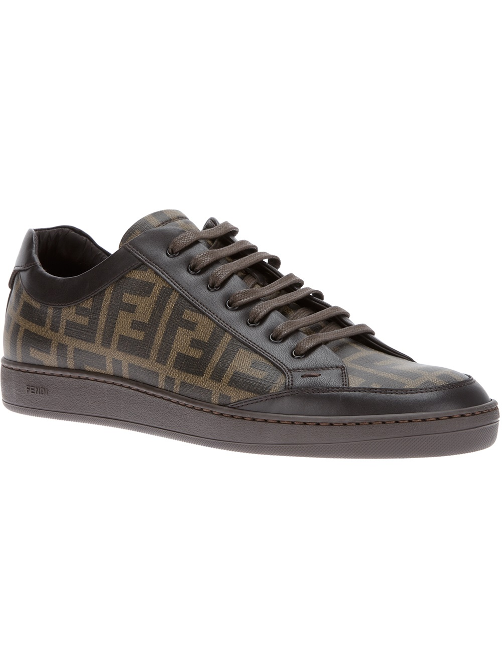 Fendi Printed Logo Trainer in Black for Men | Lyst