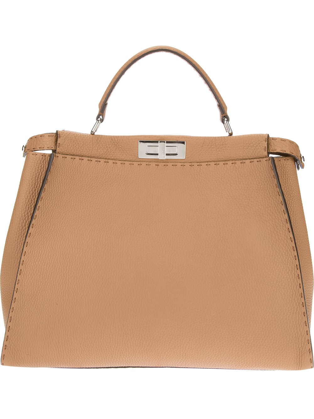 e65e5c8843 Lyst - Fendi Selleria Peekaboo Tote Bag in Brown