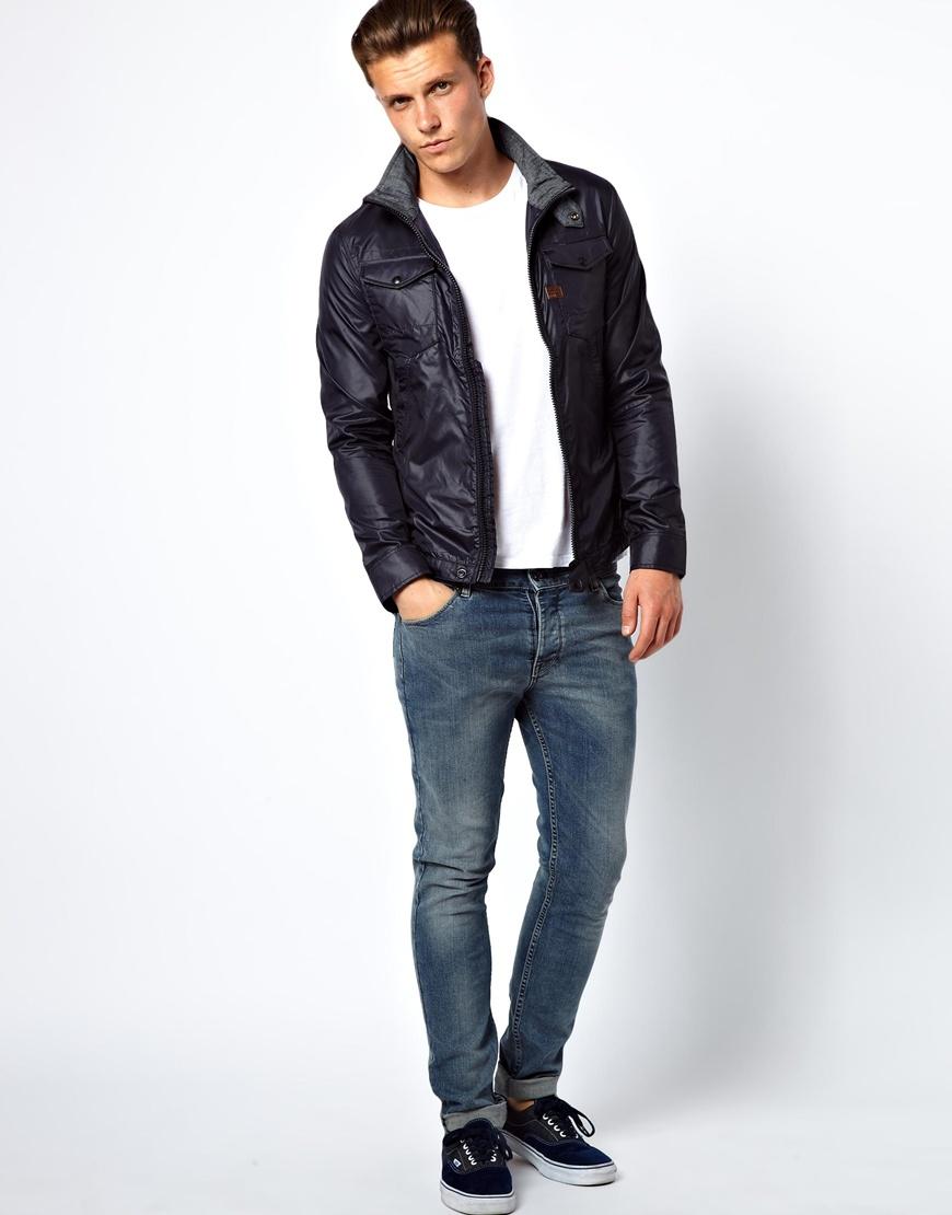 g star raw g star overshirt jacket michigan nylon zip front in blue for men lyst. Black Bedroom Furniture Sets. Home Design Ideas