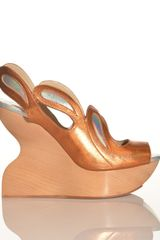 Joanne Stoker Cakewalk Orange Wavy Wedge Sandal By - Lyst