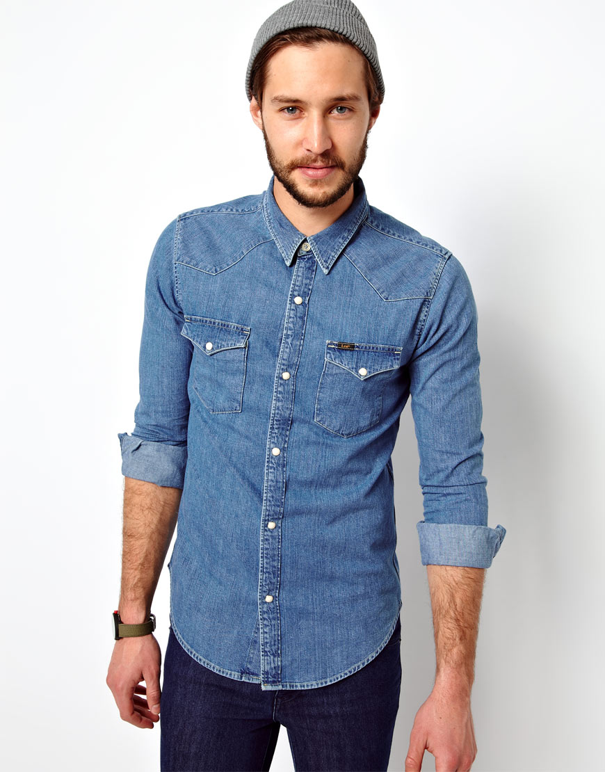 lyst asos denim shirt western slim fit light stone in