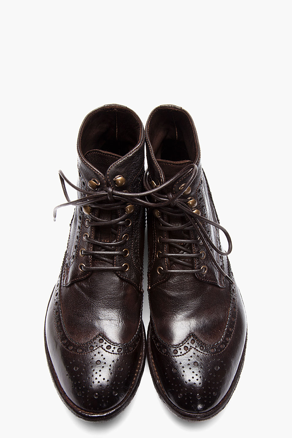 Officine Creative Brown Leather Ignis Wingtip Brogue Boots