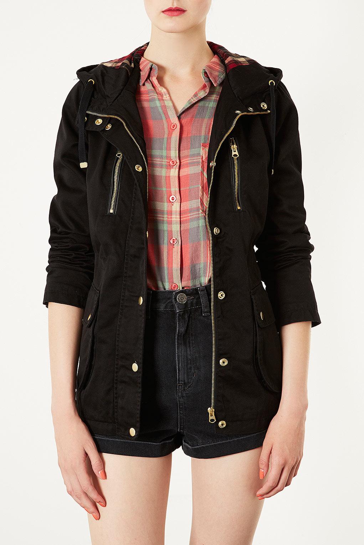 Black hooded lightweight jacket