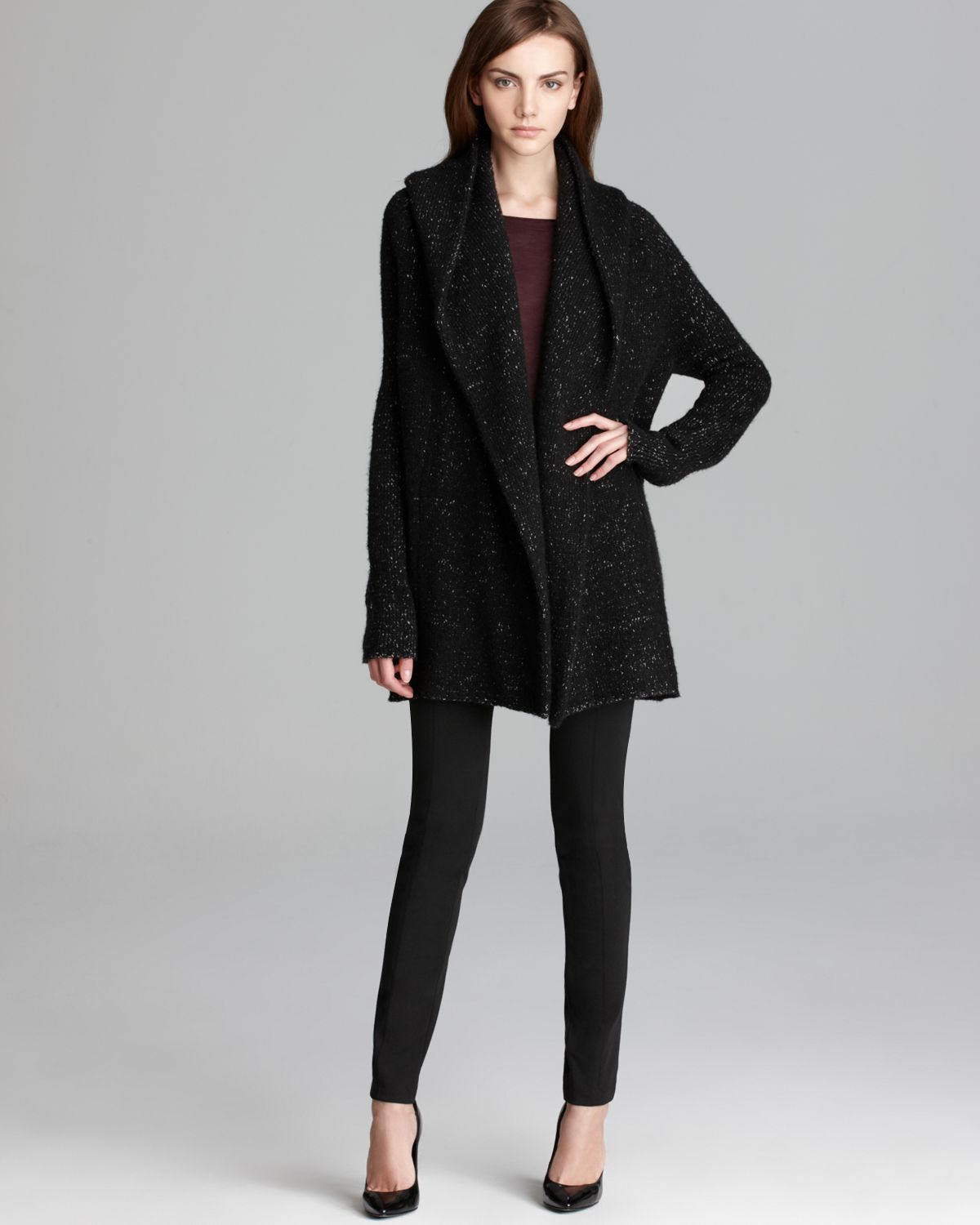 Vince Sweater Coat Tweed in Gray | Lyst