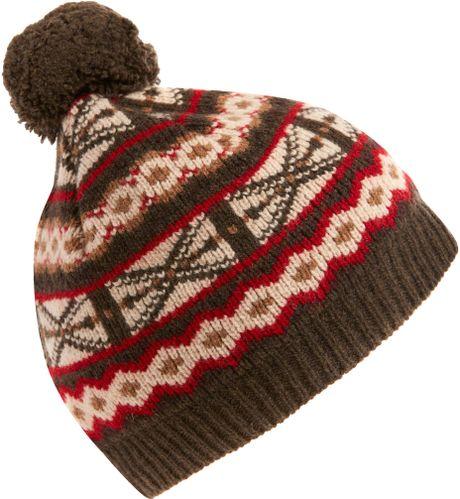 Babies Hats Knitting Patterns : Barbour Khaki Fair Isle Knit Hat in Multicolor (khaki) Lyst