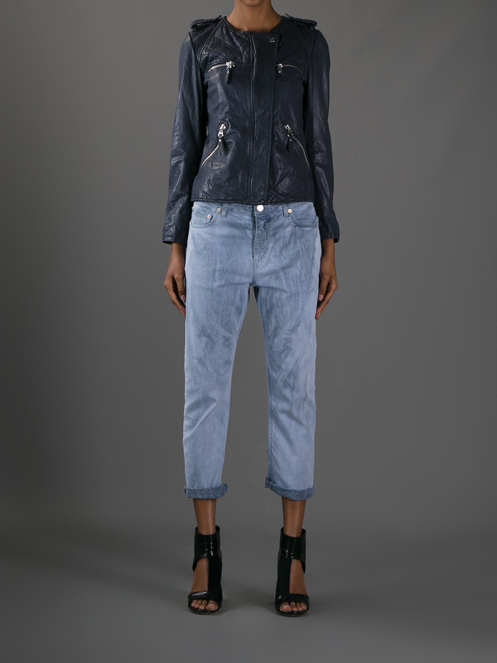Lyst 201 Toile Isabel Marant Kady Leather Jacket In Blue