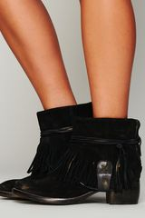 Free People Lonesome Fringe Ankle Boot - Lyst