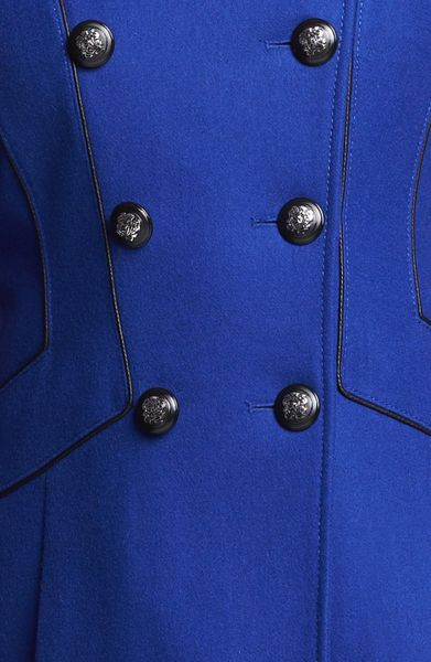 Guess Double Breasted Military Coat In Blue Cobalt Lyst