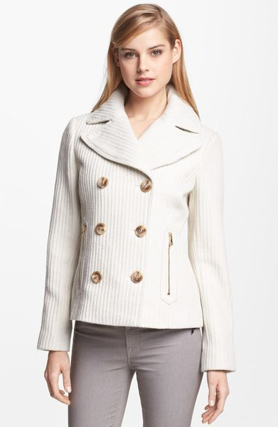 Guess Double Breasted Textured Wool Peacoat In Beige