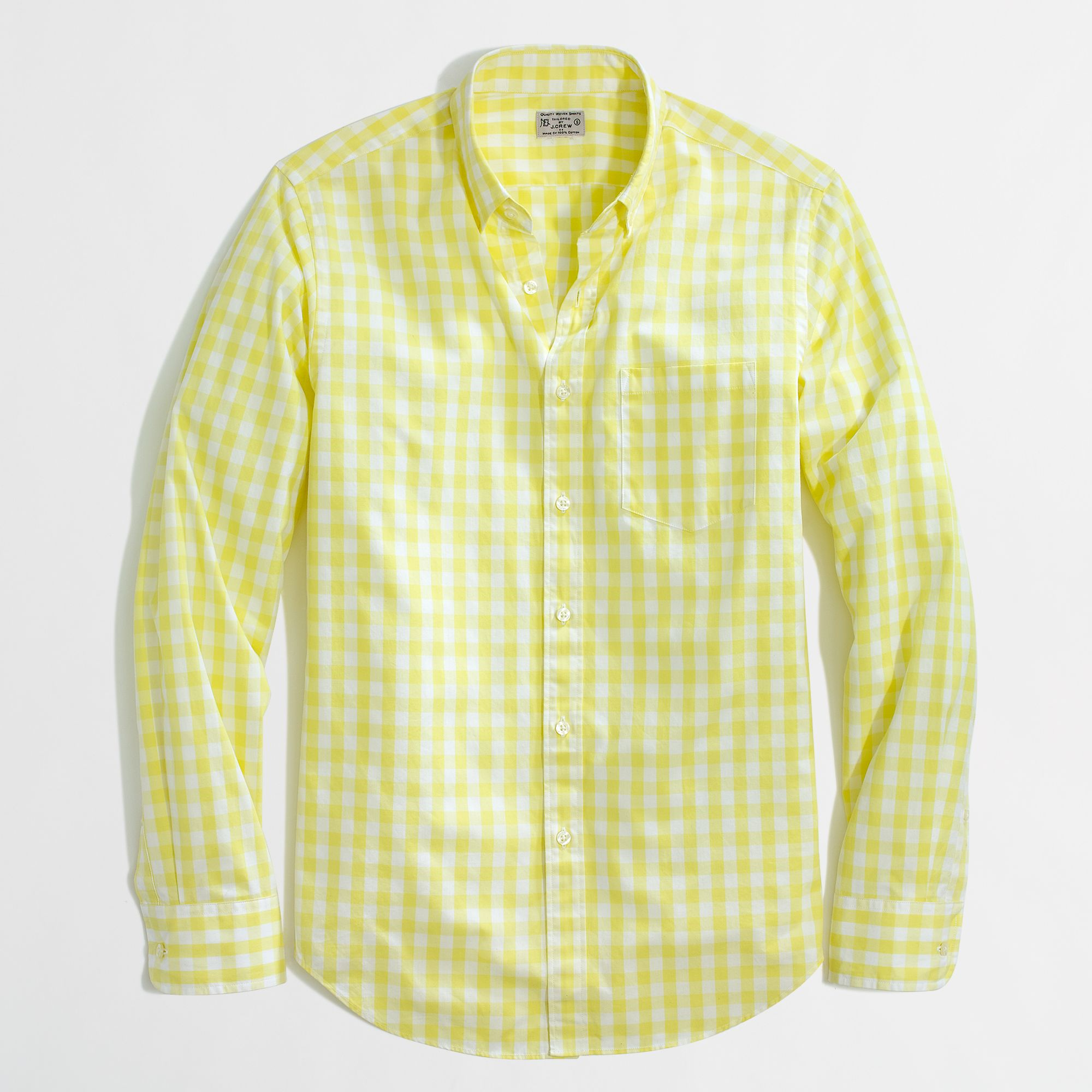 Factory slim washed shirt in twocolor gingham in for Mens yellow gingham shirt