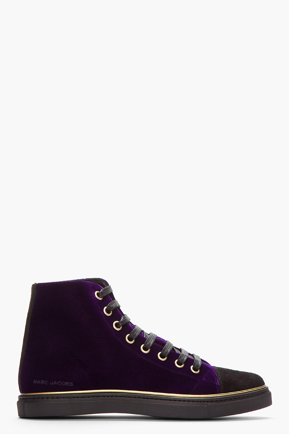 Lyst Marc Jacobs Purple Velvet Gold Trimmed High Top
