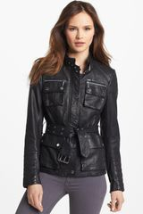 Michael by Michael Kors Belted Leather Jacket - Lyst
