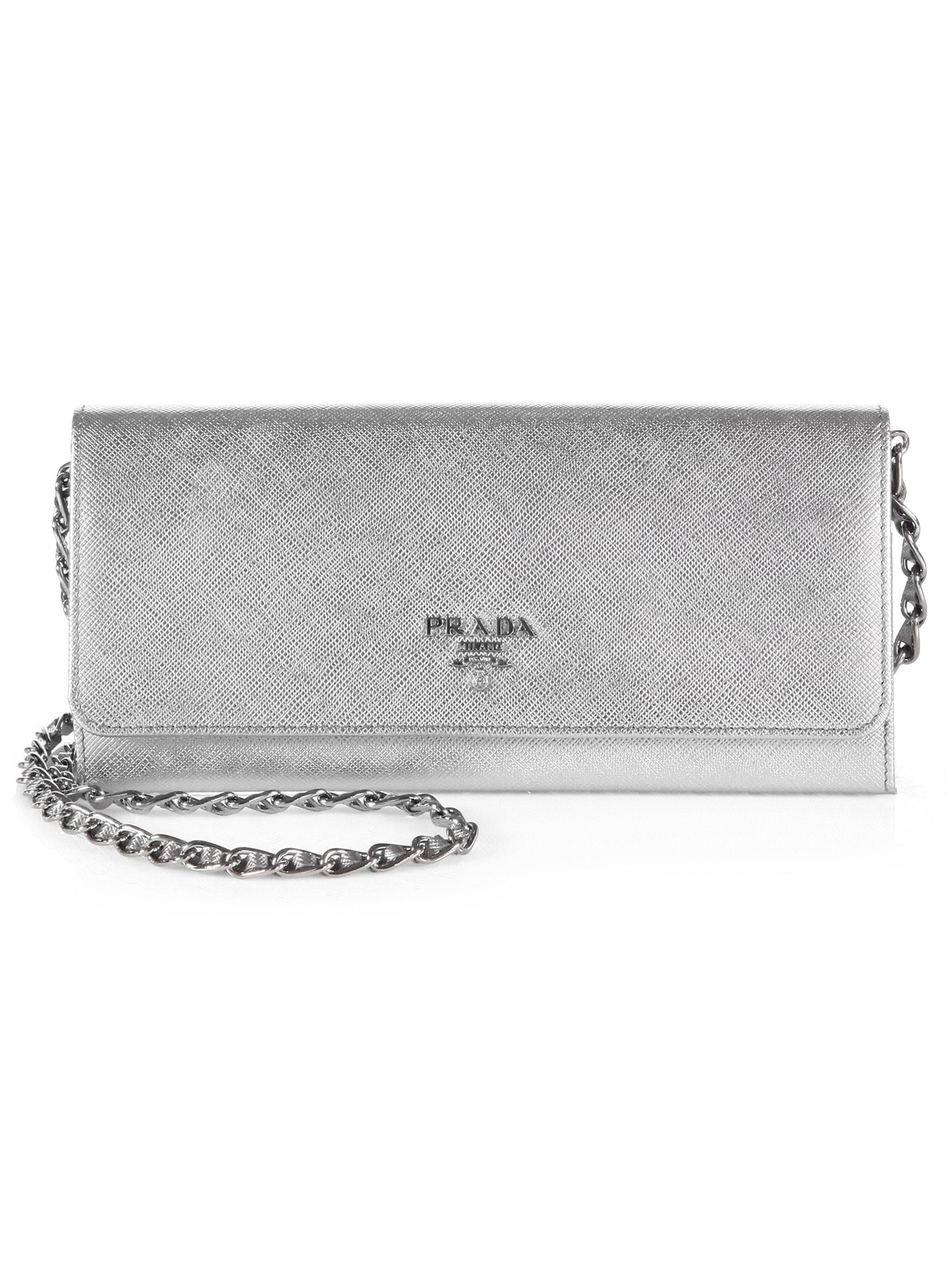 6d4b94b2d698e2 Prada Saffiano Metal Oro Wallet with Chain in Silver (CROMO-SILVER .