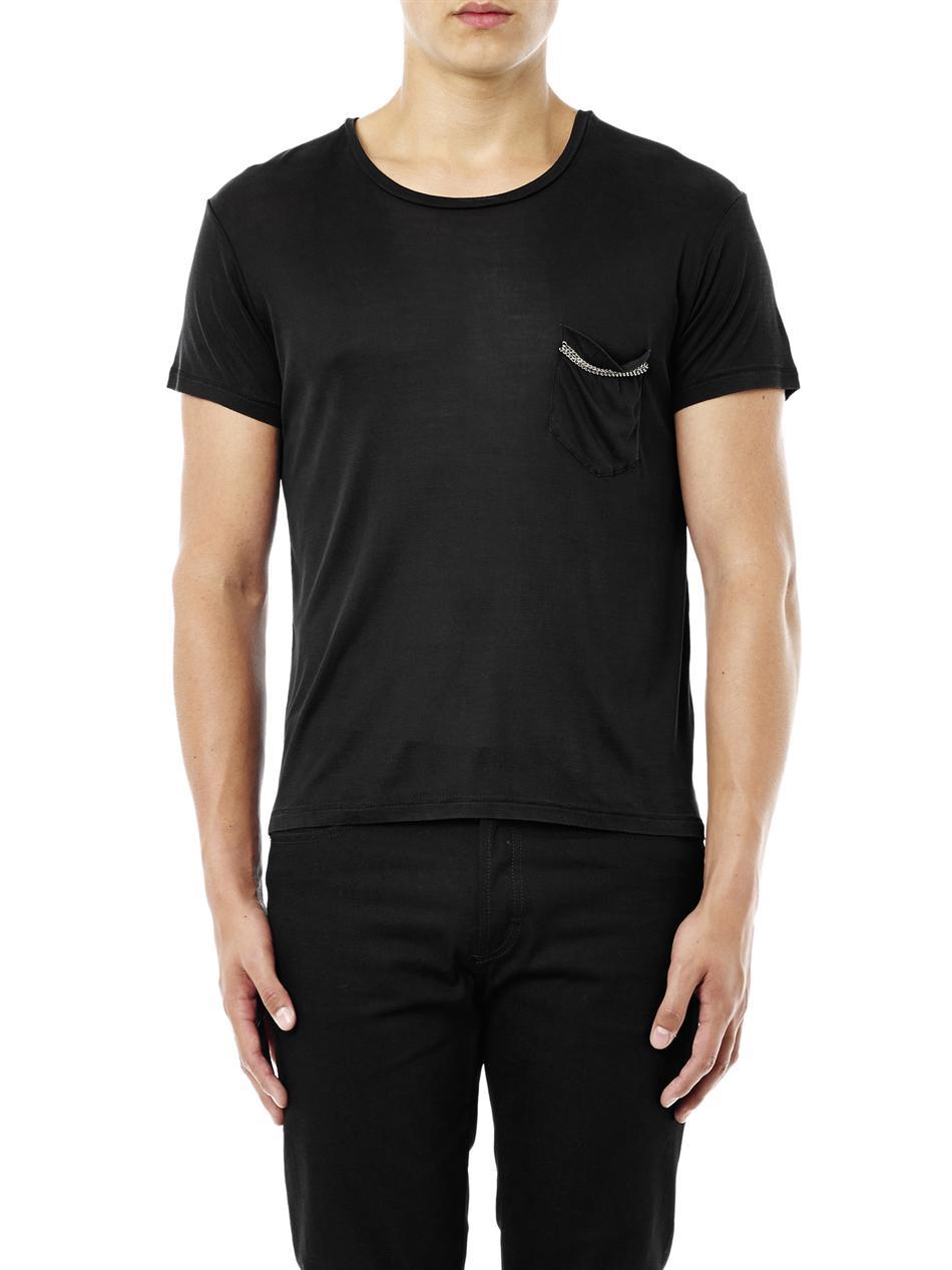 Saint laurent chest pocket t shirt in black for men lyst for Saint laurent t shirt