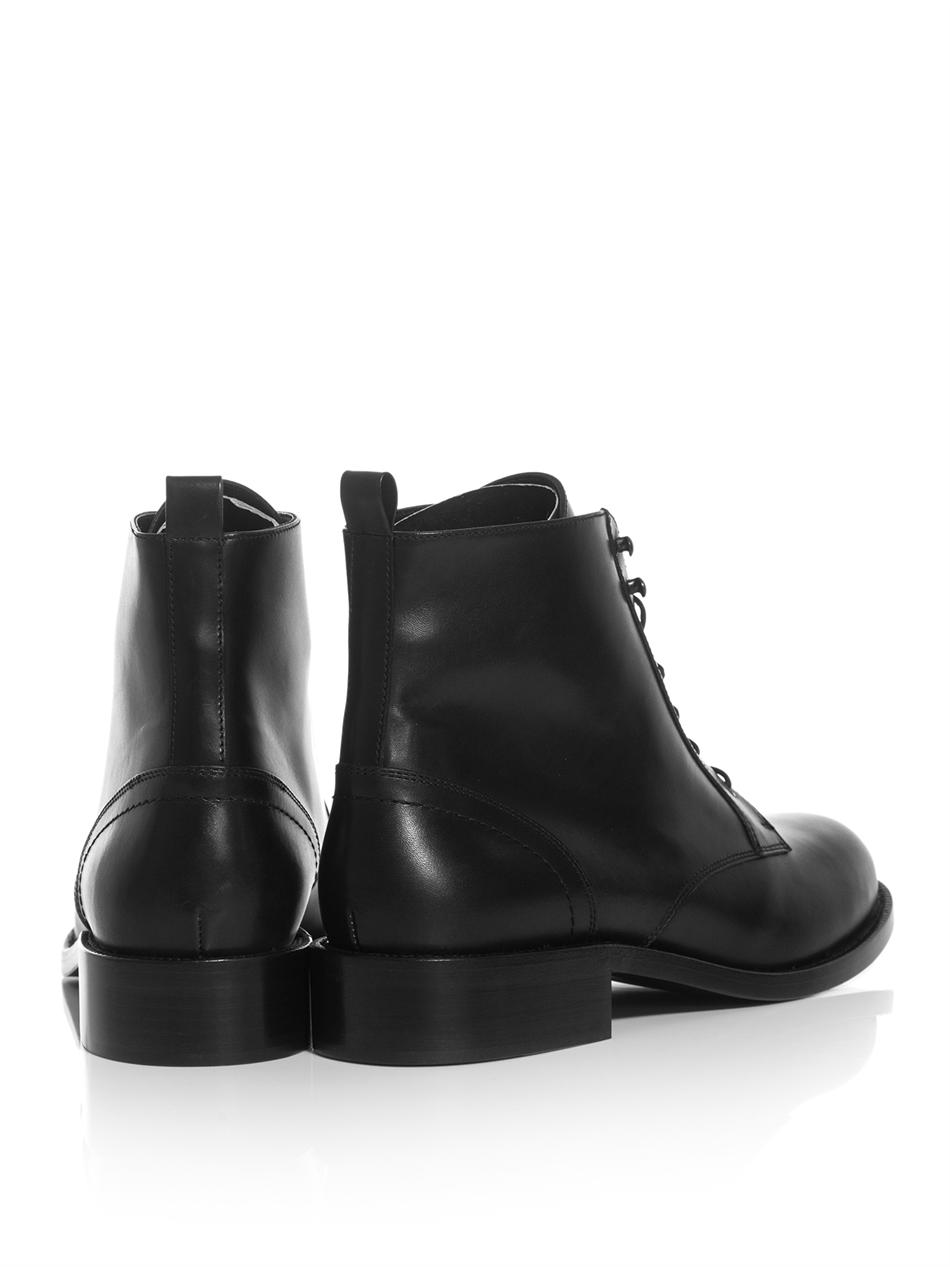018b63ef6f5 Saint Laurent Patti Laceup Leather Boots in Black - Lyst